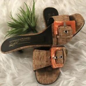 Donald J. Pliner Cork Sandals Sz 6 Lucite Orange B